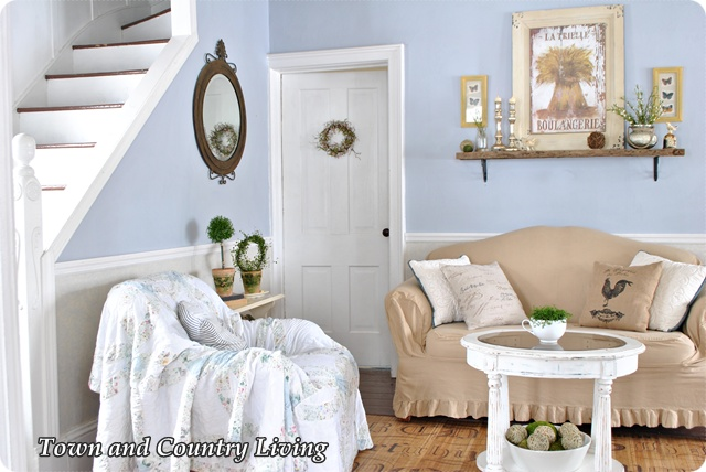 spring tiptoes through the living room town country living