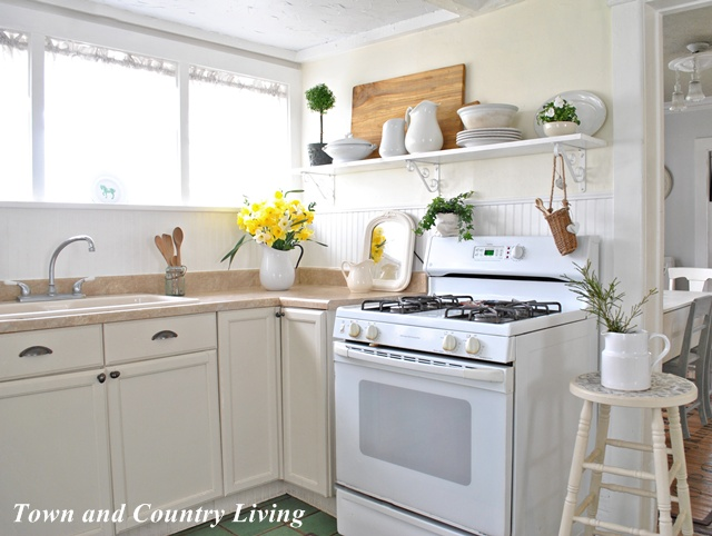 open shelving in our farmhouse kitchen town country living