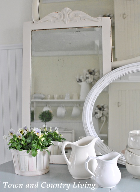 White Country Living Room Decorating Ideas: White Ironstone From The Flea Market