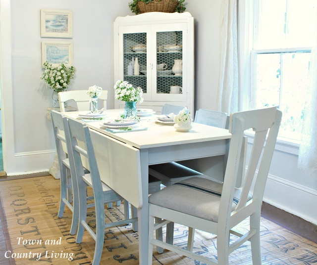 Country white dining room - Town and Country Living blog