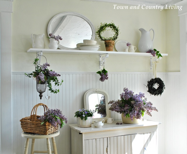 Lilacs in a farmhouse kitchen