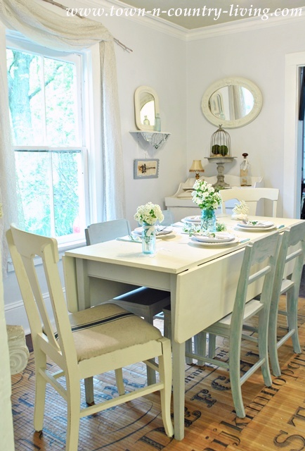 White Farmhouse Dining Room - Town and Country Living blog