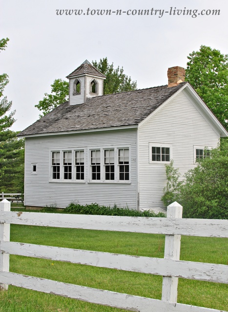 Shabby white one-room school house