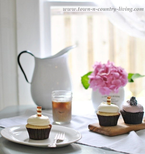 Cupcakes and Iced Coffee in a Farmhouse Kitchen - Town and Country Living blog
