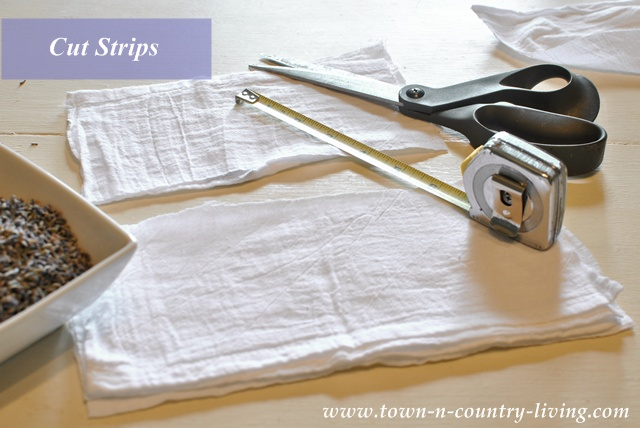 Cut wide strips to make sachets