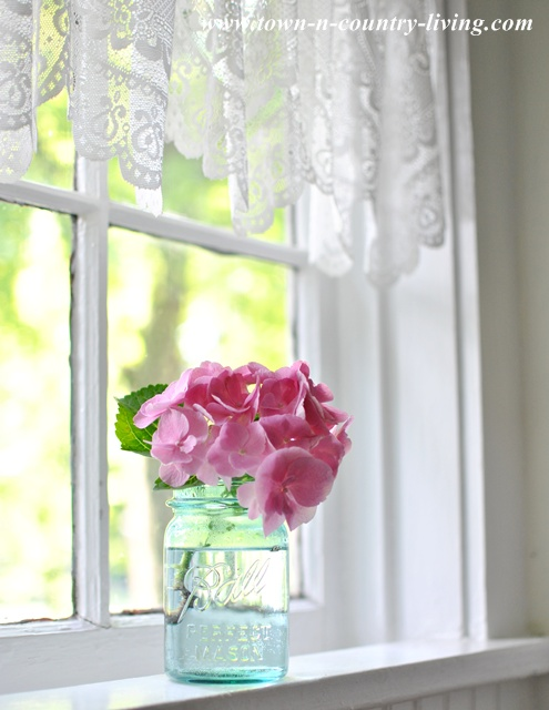 Pink Hydrangea in a Farmhouse Kitchen Window