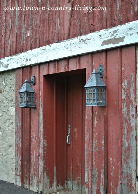 Lanterns on a Rustic Red Barn