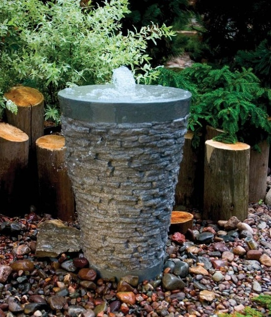 Stacked Slate Garden Fountain