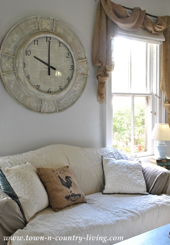 Big clock in family room at Town and Country Living