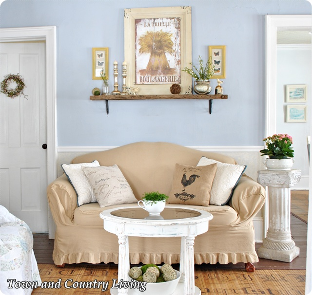 Slip covered love seat at Town and Country Living