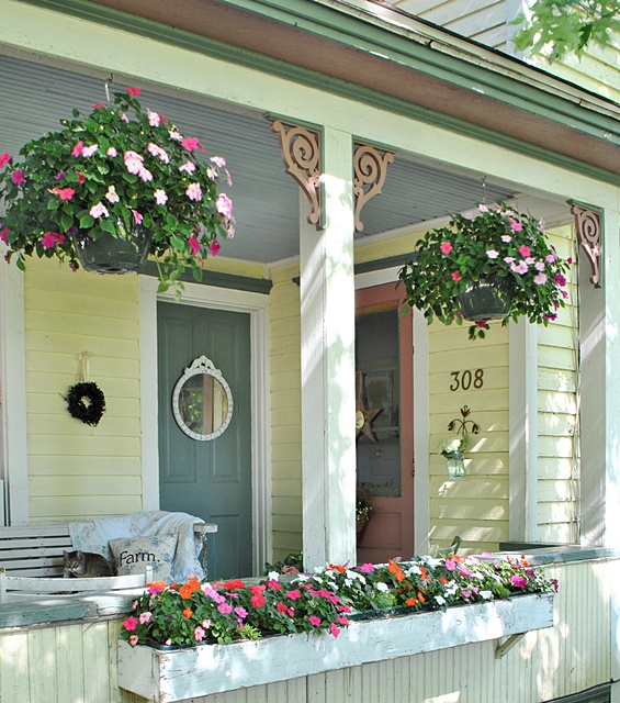 Take a tour of my cottage style farmhouse town country Cottage porch decorating ideas