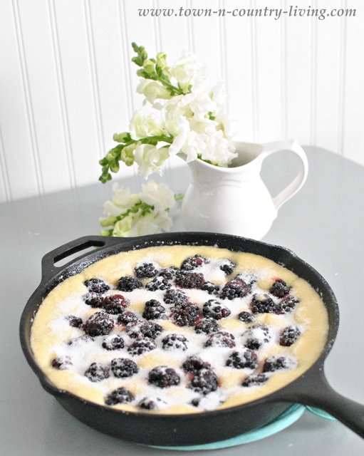 Making Blackberry Cornmeal Cake via Town and Country Living