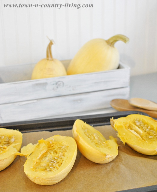 Cooking spaghetti squash via Town and Country Living