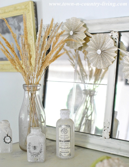 Paper Fan Garland and Fall Decor via Town and Country Living
