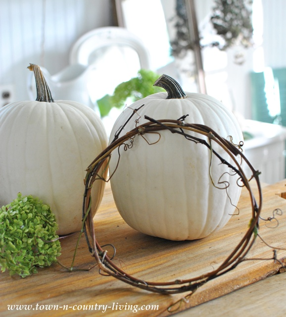 Grapevine wreaths to decorate pumpkins via Town and Country Living