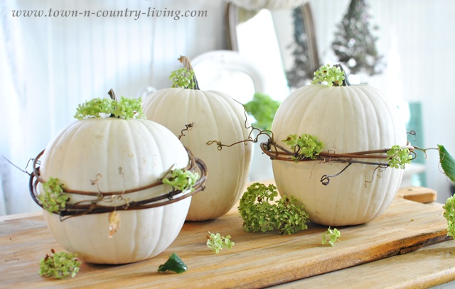 Decorate Pumpkins with Grapevine Wreaths via Town and Country Living