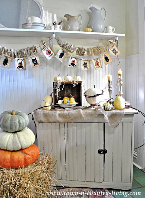 Natural Halloween Decor with Gourds, Crate, and Burlap