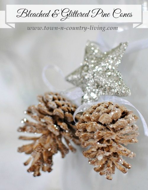Bleached and Glittered Pine Cone Ornaments. Easy to do and adds an elegant yet natural touch to your holiday decor.