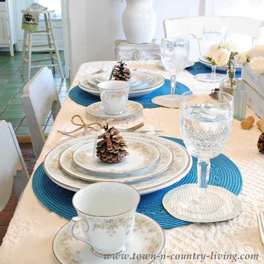 Blue and White Thanksgiving Table via Town and Country Living
