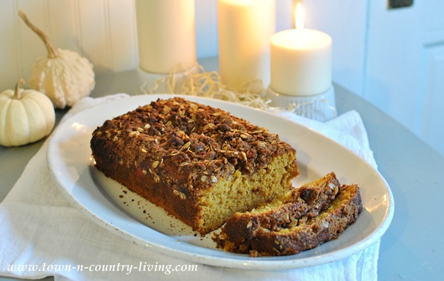 Pumpkin Bread with Streusel Topping via Town and Country Living