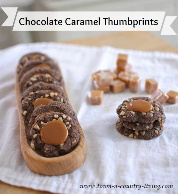 Chocolate Caramel Thumbprints by Town and Country Living