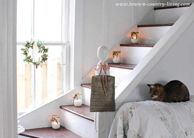 Farmhouse Christmas Staircase at Town and Country Living