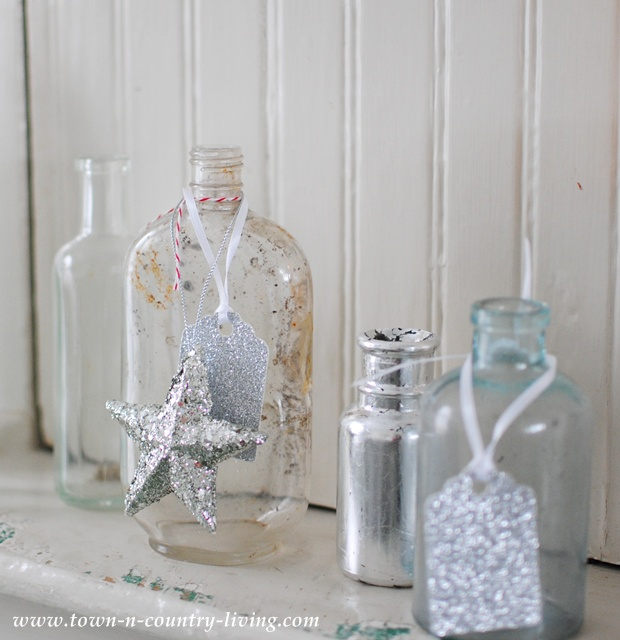 Vintage bottles decorated for Christmas