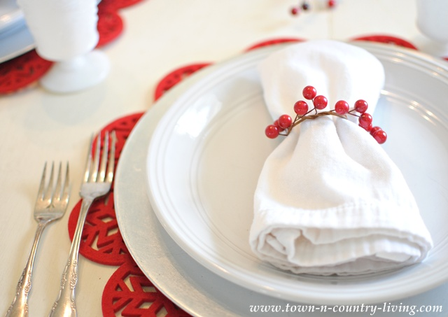 Christmas place setting by Town and Country Living