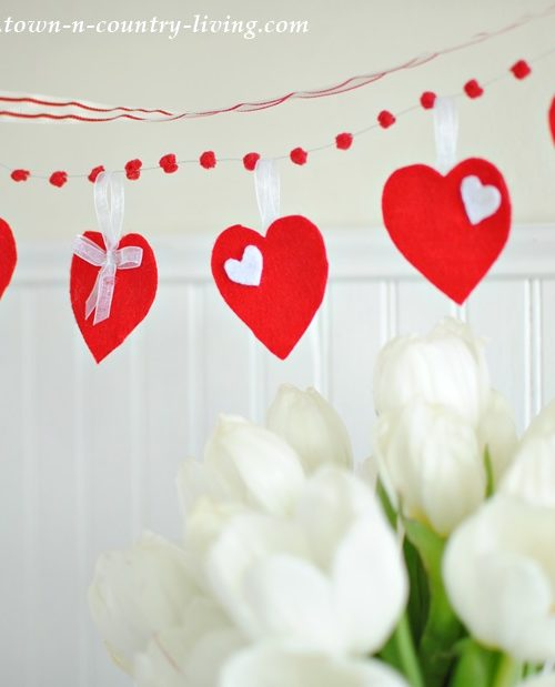 DIY Felt Valentine's Banner via Town and Country Living