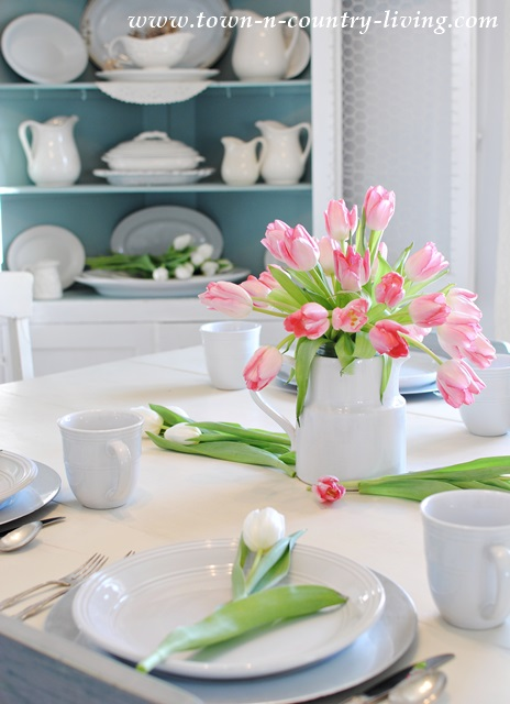 Easy tulip arrangement in a white ironstone pitcher