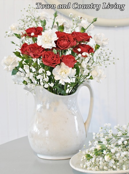 Floral Arrangement in a White Ironstone Pitcher