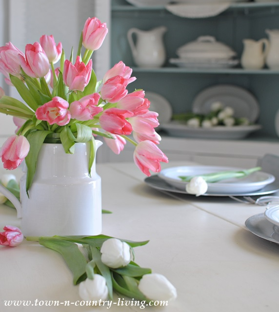 Easy tulip arrangement with white ironstone town