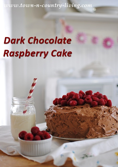 Dark Chocolate Raspberry Cake via Town and Country Living