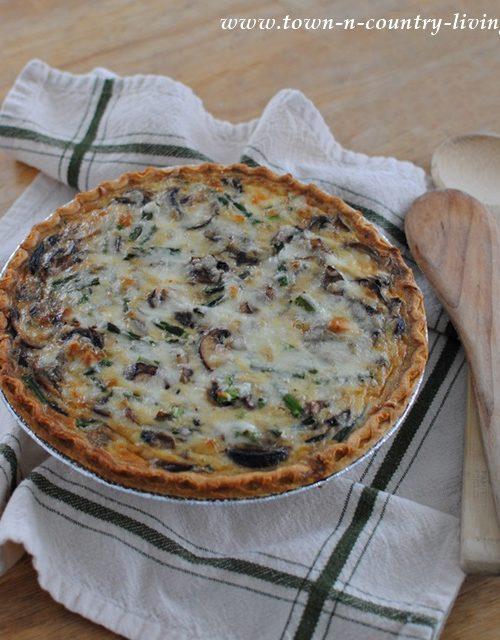 Mushroom Asparagus Fontina Quiche Recipe - Vegetarian
