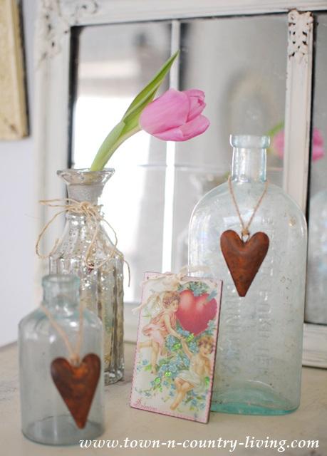 Aqua Bottles and Vintage Valentines