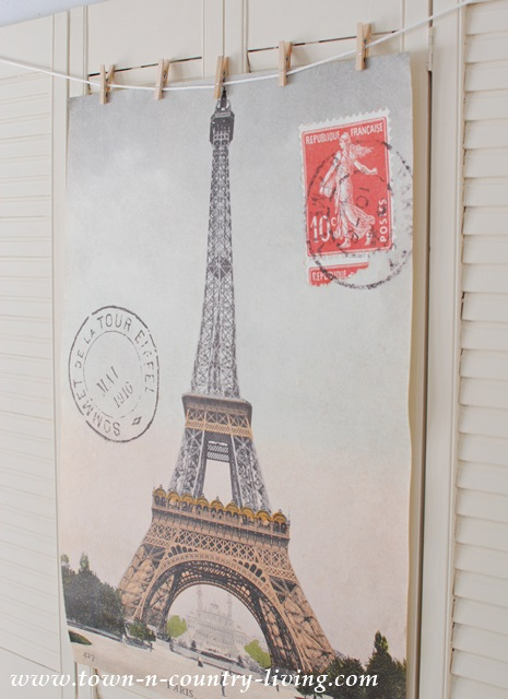 Paris poster hung on shutters