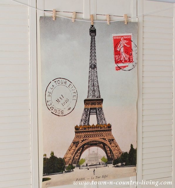 Paris Poster added to vintage shutters
