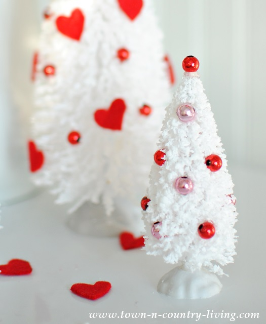 DIY Valentine bottle brush trees