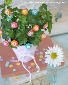 Brighten Your Houseplants with DIY Button Flowers
