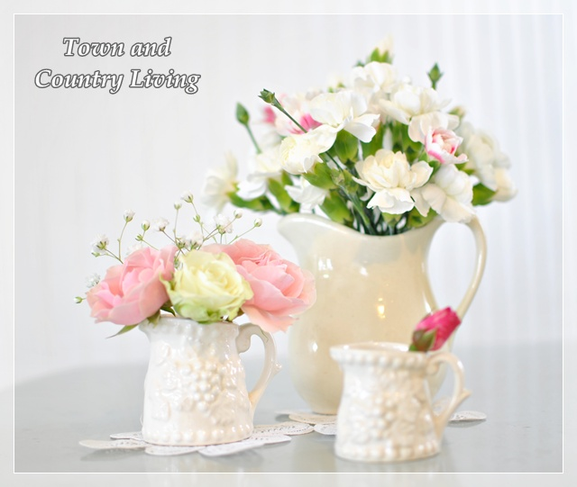 Roses and Carnations in Vintage White Pitchers
