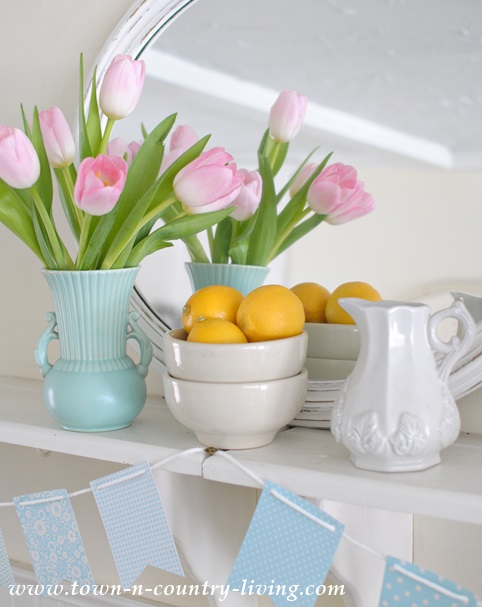 Spring display in a farmhouse kitchen