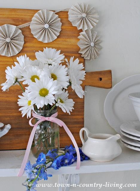 White Daisies in a Mason Jar