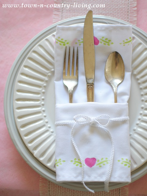 Stenciled dinner napkins for a spring setting