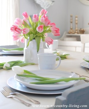 Tulips in a white ironstone pitcher