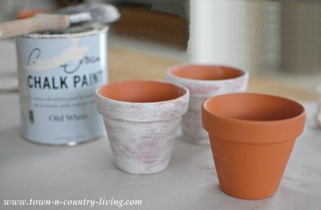 How to Whitewash Clay Garden Pots