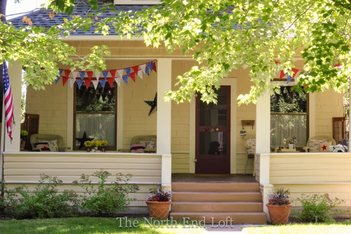 Cottage Bungalow Porch at 4th of July