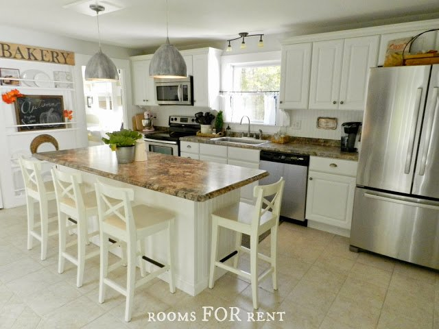 White Country Cottage Kitchen charming rustic cottage style ~ rooms for rent - town & country living