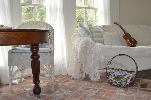 Shabby Cottage Sun Room with Brick Floors