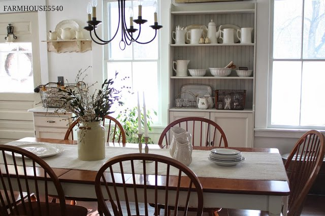 Farmhouse Dining Room And White Ironstone