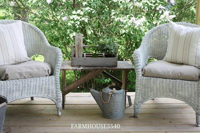 Farmhouse Porch with Wicker Furniture